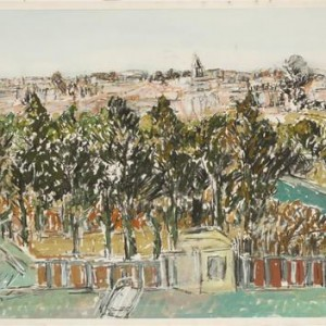 Eastern View from Gan Ha'atzmaut - Ben-Shaul David, 1985 ca., Tempera and charcoal on paper, 71X100.5 cm