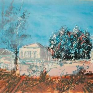 View from Gan Ha'atzmaut - Ben-Shaul David, 1989, Tempera on paper, 78.5X103 cm