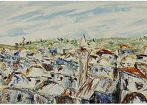 ירושלים , הרובע המוסלמי מחומת העיר , 1989 שמן על מזוניט סכין ומכחול 80 – 35 סמ'