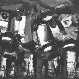 """מוטקה בלום, עיניים ,2005-2007, אקריליק על נייר 66X51 ס""""מ"""