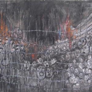 """מוטקה בלום, אומה בלהבות, 2005, אקריליק וגואש על נייר 76X57 ס""""מ"""