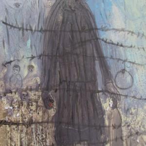 """מוטקה בלום, סופה של העיירה, 2009, מדיה מעורבת על נייר 21X29 ס""""מ"""