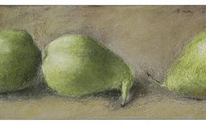 Green pears, 2004 dry pastel on sand paper 11 cm. x 30 cm