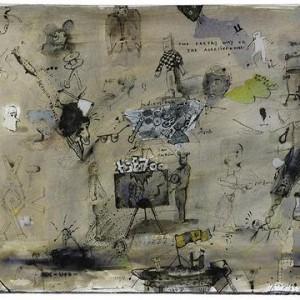 Zvi Tolkovsly, Bermuda Triangle, 2004, indian ink and pencils 50X70 cm