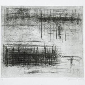 Moshe Kupferman, Untitled, 1996, etching 34x39 cm