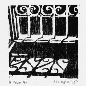 Hanna Peiser Ben-David, Window, 1996, woodcut 10x10 cm