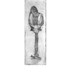 Miri Grossman, Gather, 1997 etching 19.5x6.5 cm