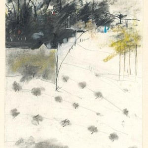 Judy Orstav, Sister of Zion Monastery, Ein Kerem, 7 a.m. 2001 charcoal and dry colored pastel 29.5x23 cm