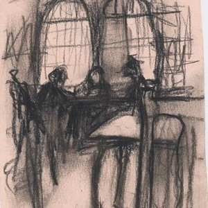 """יעקוב מאיר, שלוש דמויות, 2003 פחם על נייר, 14x10.5 ס""""מ"""