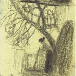 Leonid Balaclav, In the Yard, 2003, charcoal on paper 14x10 cm