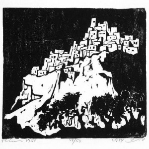 Jacob Pins, Village in the Mountains, 1954, woodcut 26.1x28.4 cm