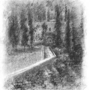"""שביל בעין כרם , 2002 פחם טבעי על נייר 34x33 ס""""מ"""