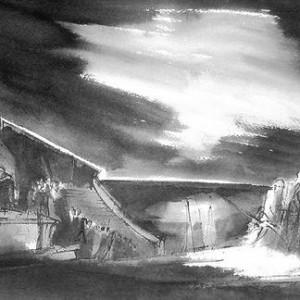 """יאן מנסס, מתוך הסדרה: דיאבוליקה, 1962 קולמוס, מכחול, טוש ודיו מדולל, 32x49.5 ס""""מ"""