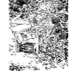 """שאול שץ, בתוך הגן, 1994 תחריט, 38x28 ס""""מ"""