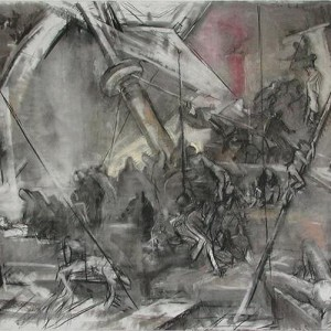 Zvika Lachman, Medusa - Hommage to Gericault, 2003-2004, charcoal and dry pastel on paper 140x180 cm