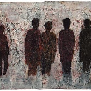 The Onlookers, 2000 Mixed media on layers of glued paper 0.70 x 0.50 m.