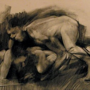 Ben Tritt, Struggle with a Man, 2002, charcoal on paper 50x70 cm