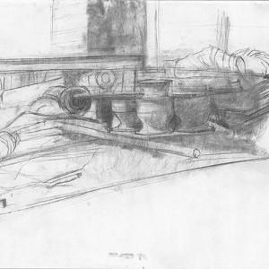 Uri Blayer, Maui Sugar Mill, 2002, charcoal on paper 36x42 cm