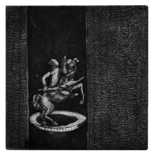 Noemi Tedeschi, Blankett Knight 3, 2003, etching and aquatint 10x10 cm