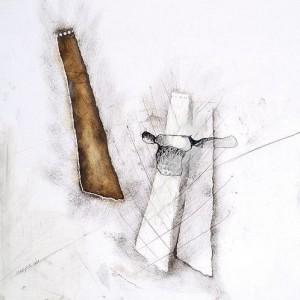 """נונה אורבך מתוך הסדרה: 1000 רישמומים 1995 טכניקה מעורבת על נייר 35x35 ס""""מ"""