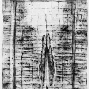 Rita Mendes Flohr, Bulls Skull: Gazing at Georgia, 1991-1991, graphite on paper 100x70 cm