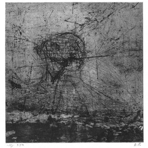 Beba Yannay, Explosion, 2001, etching and dry point 19.5x19.5 cm
