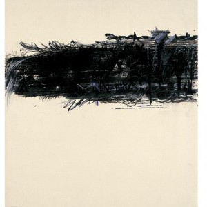 Aviva Uri, Untitled 1970, black and white chalk on paper, 81x70.5 cm