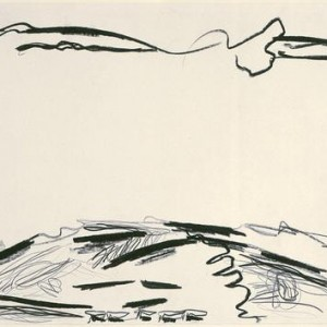 Aviva Uri, Landscape ca., 1958, black chalk on paper 33x49 cm