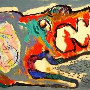 לתוך חשכת החיים - שץ בצלאל, 1947 , הדפס משי, 65x41