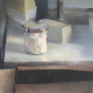 "Still Life with Cotton Box, 2005 Oil on Canvas 40 X 40 c""m"