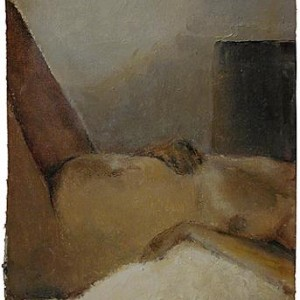 """Reclining figure"", 2000 Oil on canvas mounted on wood 14 X 20.5 cm"