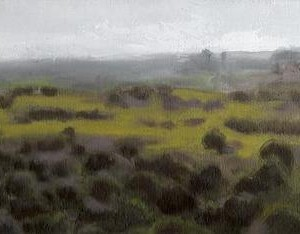 "Landscape, Givat Yeshaayu, Oil on Canvas 30 X 15 c""m"