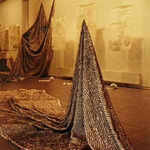 "Part of the installation ""For There is in scent entrance to love""., Yards of cloth embroidered with cloves 1000. 160. 100.c""m"