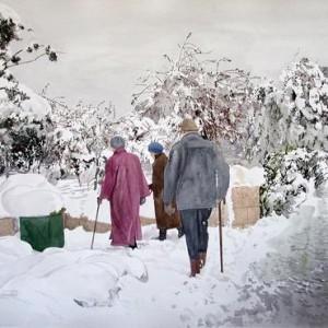 """שלמה יהודיין שלג,  צבעי מים 50X70 ס""""מ"""