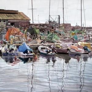 """נמל יפו,  צבעי מים 50X70 ס""""מ"""
