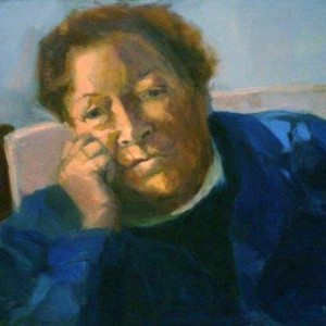 Heddi in a blue gown, 1992 Oil on Canvas 50X70 cm.