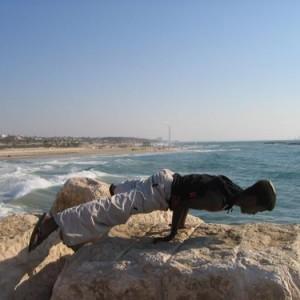 Youth on the breakwater, Ashkelon - Levy Dana, 2005, digital print