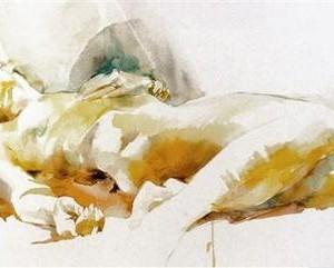עירומה בלונדינית , watercolor 76 X 56 סמ