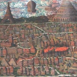 ניו יורק בוערת - כהן גבריאל, 2001 , צבע פוליאוריתני על בד, 90 X 120 סמ.