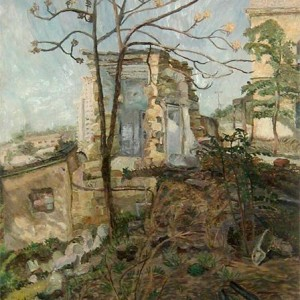 Old house at the Old Shaarei Zedek Hospital site , 1995 Oils 100.0 cm x 80.0 cm