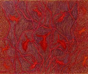 As A Woman, As A Bird 2004, Triptych, Oil on Plywood 70X35 cm