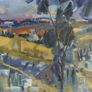 Old City view from Hass promenade - Hass Yehoshua, 2000, Oil on Canvas, 73X50 cm