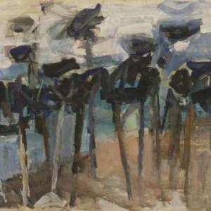 אורנים בכחול - הס יהושע,  1960, גואש על נייר, 73X50 סמ