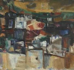 קריה גלילית - הס יהושע,  1963,  שמן על בד,  80X50 סמ