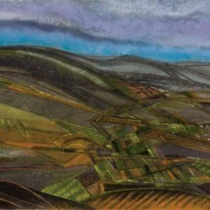 Fields - Greenfield Yitzhak, 1959, pastel on paper, 36x48