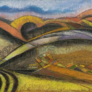 שדות חרושים - גרינפילד יצחק, 1960, פסטל על נייר, 27x35