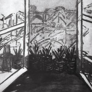 חלון הסטודיו - בן-שאול דוד, 1987, אקווטינטת סוכר על נייר, 76x105