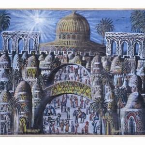 שווקי ירושלים - כהן גבריאל, 1989, צבע תעשייתי על בד, 70x58