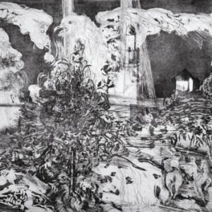 הר ציון - ליפשיץ אורי, 1987, תצריב ואקווטינטה על נייר, 105x76