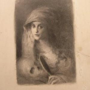 Girl with a skull - new jerusalem, 1908, Drawing by Ira Yann